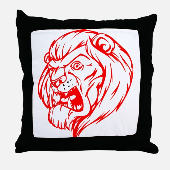 Lion Mascot (Red) Throw Pillow