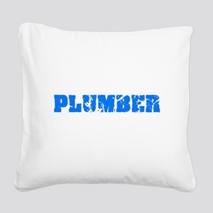 Plumber Blue Bold Design Square Canvas Pillow