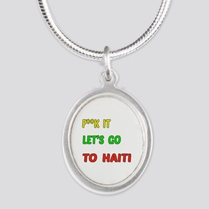 Let's go to Haiti Silver Oval Necklace