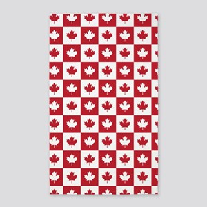 Canada Maple Leaf Checkered Pattern Area Rug