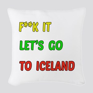 Let's go to Iceland Woven Throw Pillow