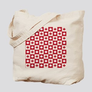 Canada Maple Leaf Checkered Pattern Tote Bag