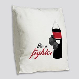 Boxing Fighter Burlap Throw Pillow