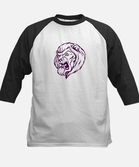 Lion Mascot (Purple) Kids Baseball Jersey