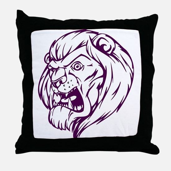 Lion Mascot (Purple) Throw Pillow