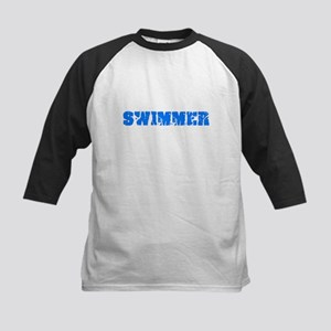 Swimmer Blue Bold Design Baseball Jersey