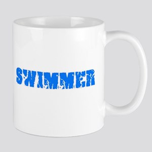 Swimmer Blue Bold Design Mugs