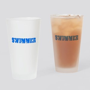 Swimmer Blue Bold Design Drinking Glass