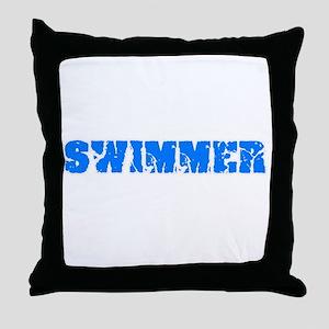 Swimmer Blue Bold Design Throw Pillow