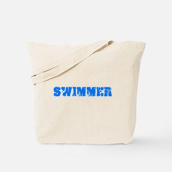 Swimmer Blue Bold Design Tote Bag