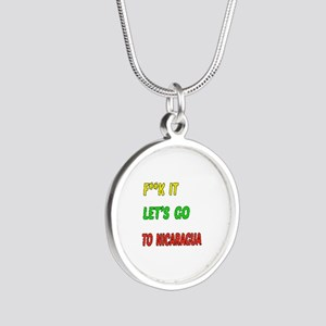 Let's go to Nicaragua Silver Round Necklace