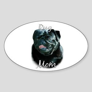 Pug Mom2 Oval Sticker