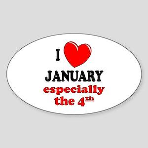 January 4th Oval Sticker