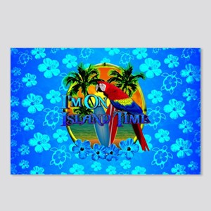 Island Time Surfing Blue Hibiscus Postcards (Packa