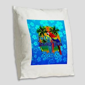 Island Time Surfing Blue Hibiscus Burlap Throw Pil