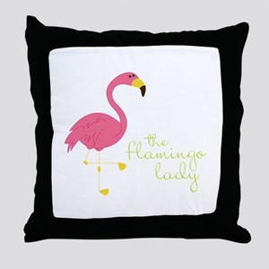 The Flamingo Lady Throw Pillow