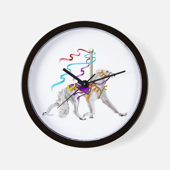 Saluki White Carousel Wall Clock