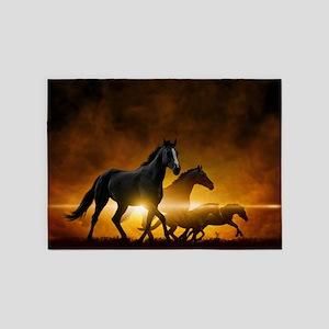 Wild Black Horses 5'x7'area Rug