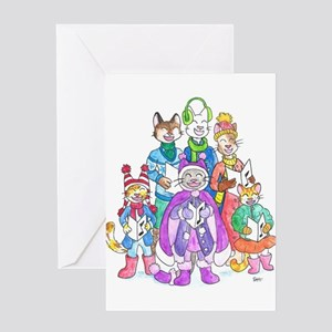Kitty Carolers Greeting Cards