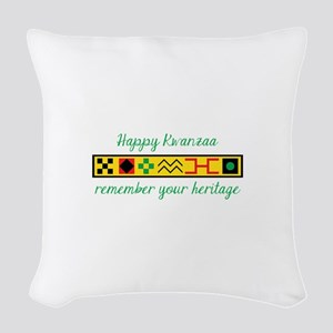 Happy Kwanzaa Woven Throw Pillow