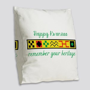 Happy Kwanzaa Burlap Throw Pillow