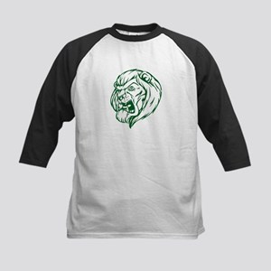 Lion Mascot (Green) Kids Baseball Jersey