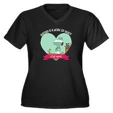 Snoopy Nursi Women's Plus Size V-Neck Dark T-Shirt
