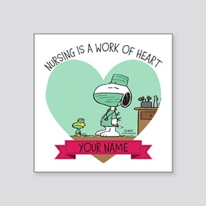 "Snoopy Nursing - Personaliz Square Sticker 3"" x 3"""