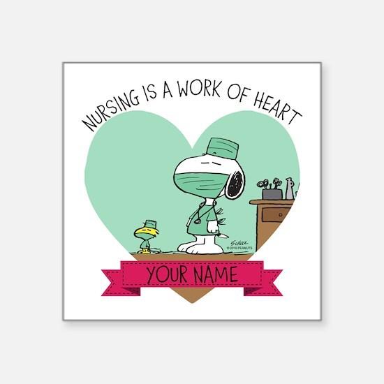 "Snoopy Nursing - Personaliz Square Sticker 3"" x 3"""