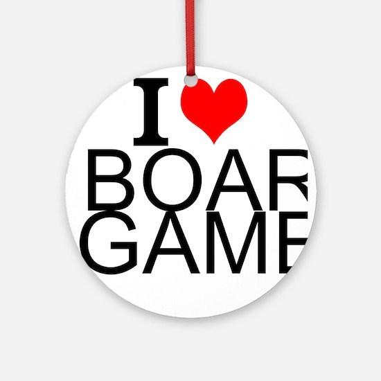 I Love Board Games Round Ornament