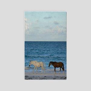 Wild Horses On The Beach Area Rug