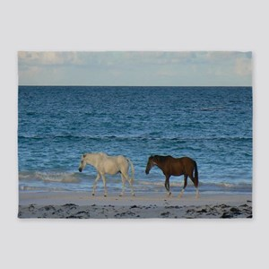 Wild Horses On The Beach 5'x7'Area Rug