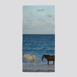 Wild Horses On The Beach Beach Towel