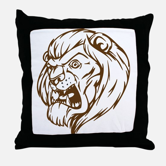 Lion Mascot (Brown) Throw Pillow
