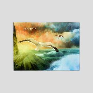 Seashore Seagulls 5'x7'Area Rug