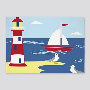 Lighthouse By The Sea 5'x7'Area Rug
