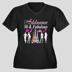 50TH PARIS Women's Plus Size V-Neck Dark T-Shirt