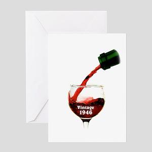 Vintage 1946 Wine 70th Greeting Cards