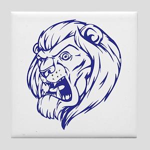 Lion Mascot (Blue) Tile Coaster