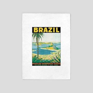 Brazil Retro Poster 5'x7'Area Rug