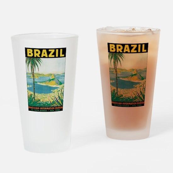 Brazil Retro Poster Drinking Glass