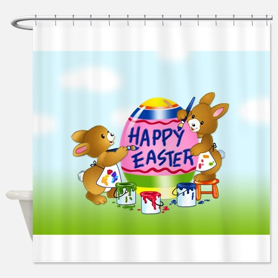 Bunnies Painting Easter Egg Shower Curtain