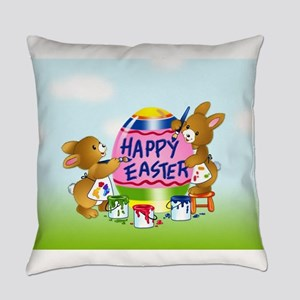 Bunnies Painting Easter Egg Everyday Pillow