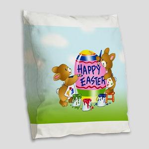 Bunnies Painting Easter Egg Burlap Throw Pillow
