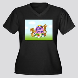 Bunnies Painting Easter Egg Plus Size T-Shirt