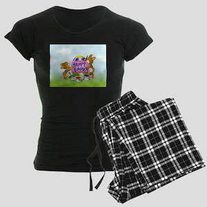 Bunnies Painting Easter Egg Women's Dark Pajamas