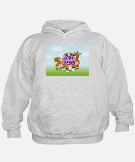 Bunnies Painting Easter Egg Hoodie