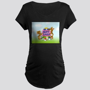 Bunnies Painting Easter Egg Maternity T-Shirt