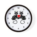 Black Cat Love Wall Clock