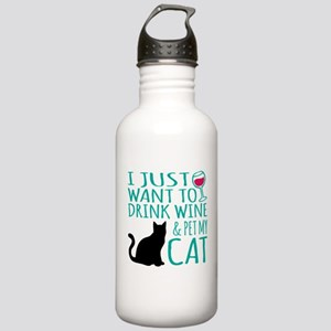 Drink Wine and Pet My Stainless Water Bottle 1.0L